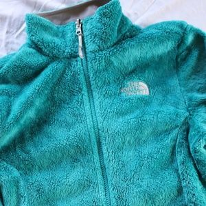 The North Face Small Teal Fuzzy Zip Up Jacket